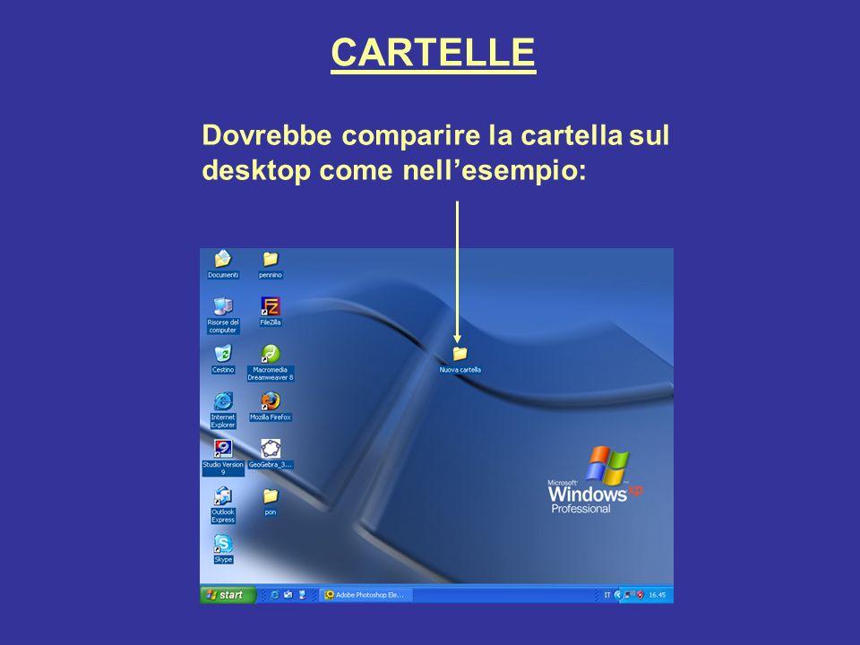 CARTELLE Dovrebbe comparire la cartella sul desktop come nell'esempio:
