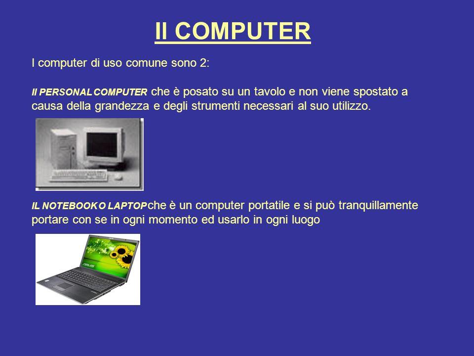 Il COMPUTER I computer di uso comune sono 2: