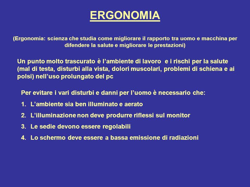 ERGONOMIA (Ergonomia: scienza che studia come migliorare il rapporto tra uomo e macchina per difendere la salute e migliorare le prestazioni)