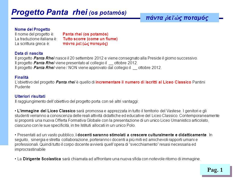 Nome del Progetto Il nome del progetto è: Panta rhei (os potamòs) La traduzione italiana è: Tutto scorre (come un fiume)