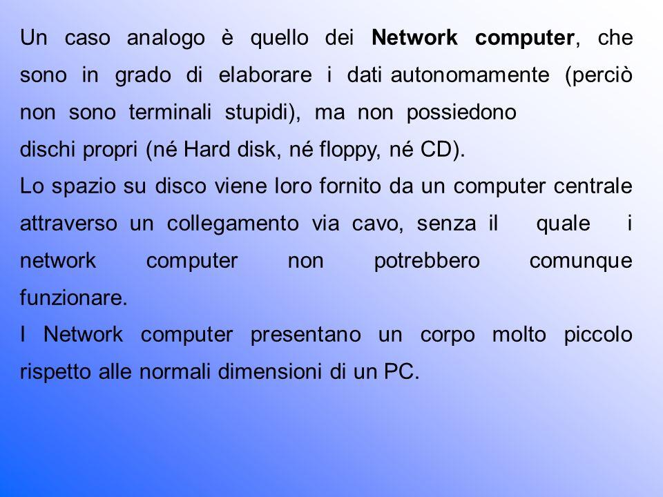 Un caso analogo è quello dei Network computer, che sono in grado di elaborare i dati autonomamente (perciò non sono terminali stupidi), ma non possiedono