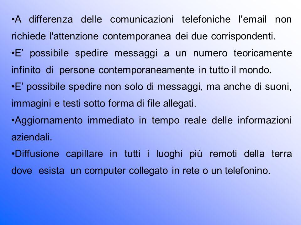 A differenza delle comunicazioni telefoniche l email non richiede l attenzione contemporanea dei due corrispondenti.