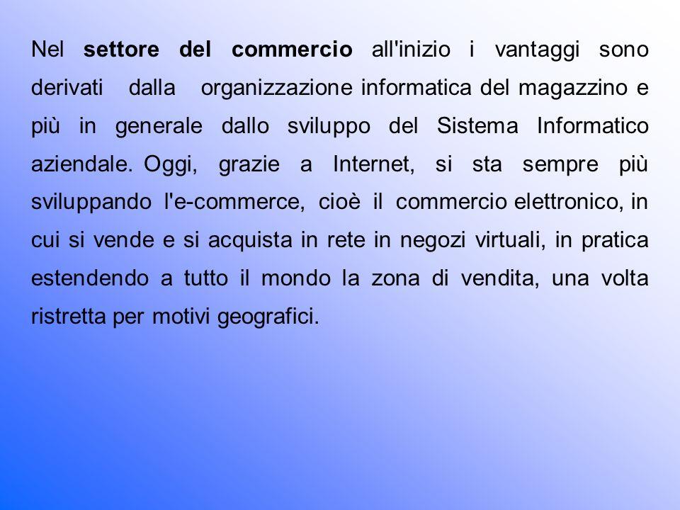 Nel settore del commercio all inizio i vantaggi sono derivati dalla organizzazione informatica del magazzino e più in generale dallo sviluppo del Sistema Informatico aziendale.
