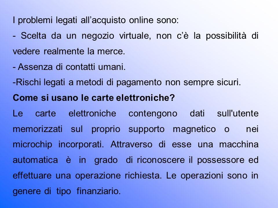 I problemi legati all'acquisto online sono: