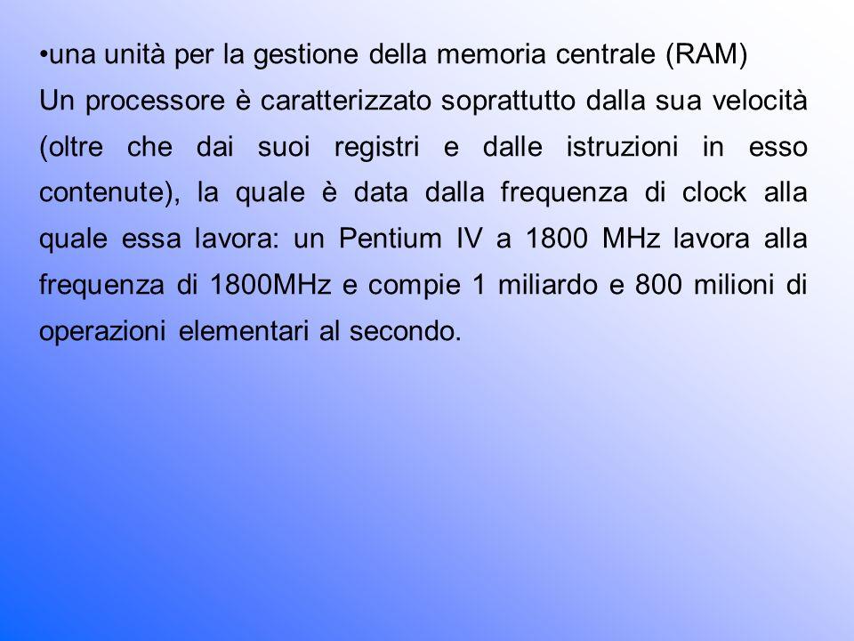 una unità per la gestione della memoria centrale (RAM)