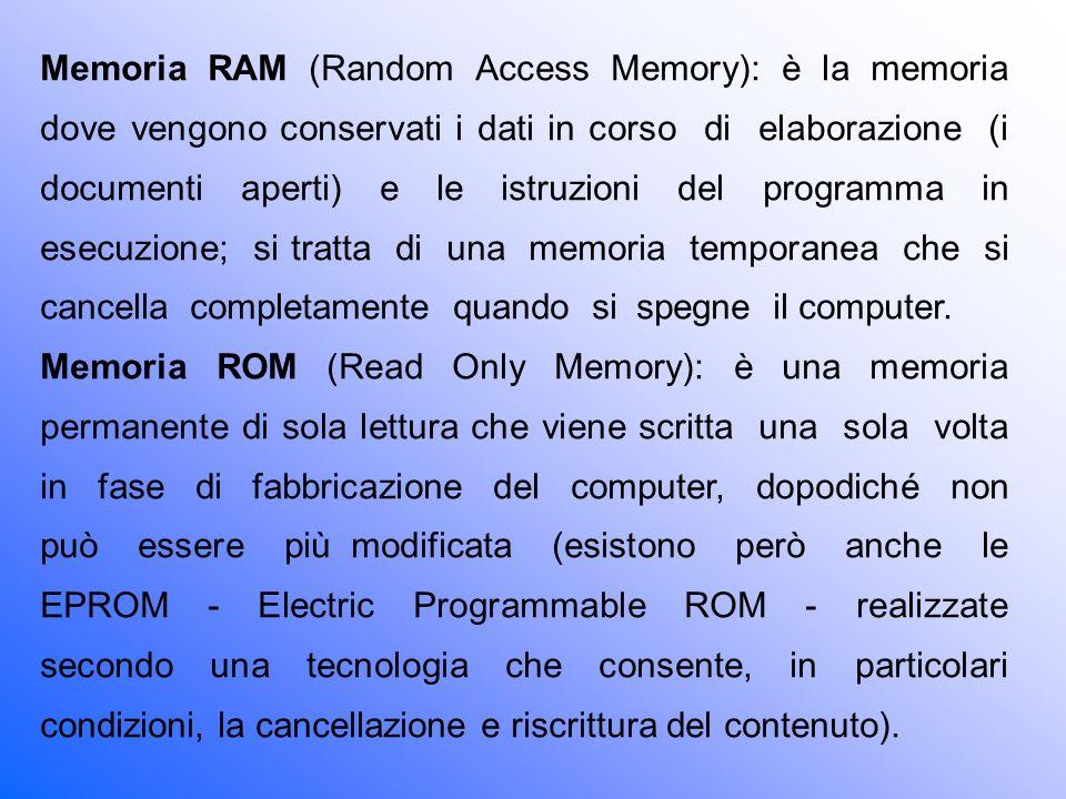 Memoria RAM (Random Access Memory): è la memoria dove vengono conservati i dati in corso di elaborazione (i documenti aperti) e le istruzioni del programma in esecuzione; si tratta di una memoria temporanea che si cancella completamente quando si spegne il computer.