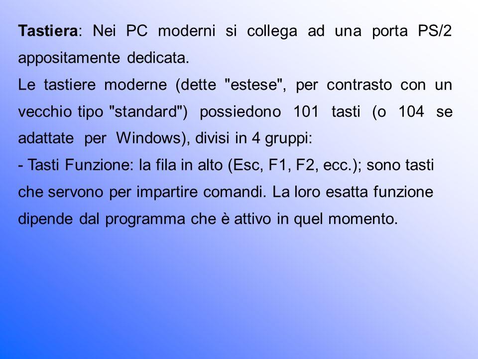 Tastiera: Nei PC moderni si collega ad una porta PS/2 appositamente dedicata.