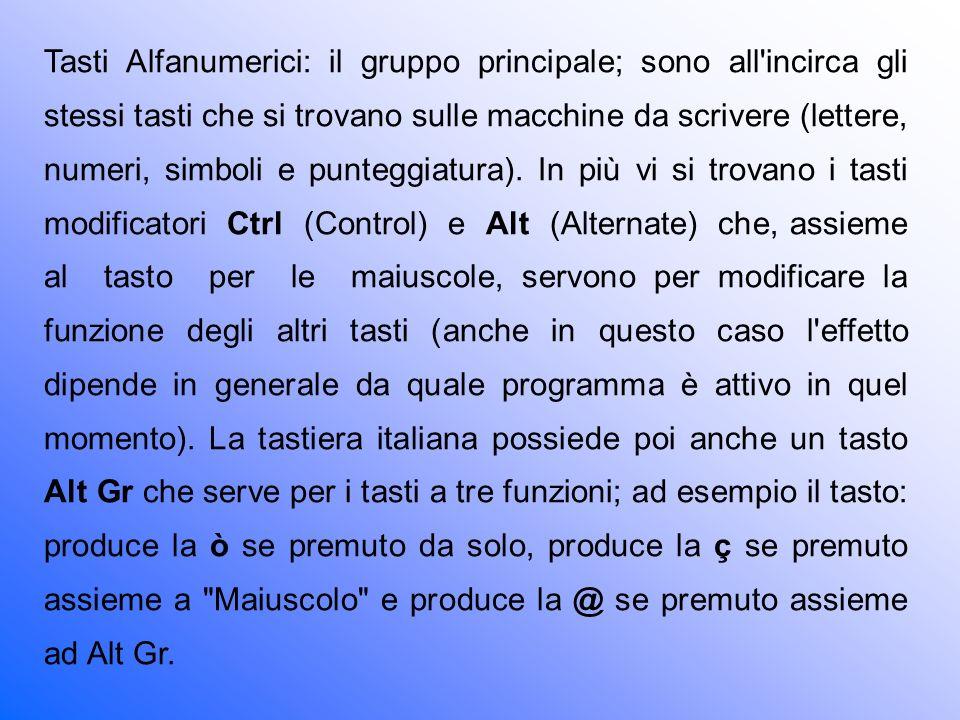 Tasti Alfanumerici: il gruppo principale; sono all incirca gli stessi tasti che si trovano sulle macchine da scrivere (lettere, numeri, simboli e punteggiatura).