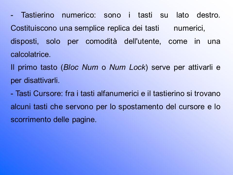 - Tastierino numerico: sono i tasti su lato destro