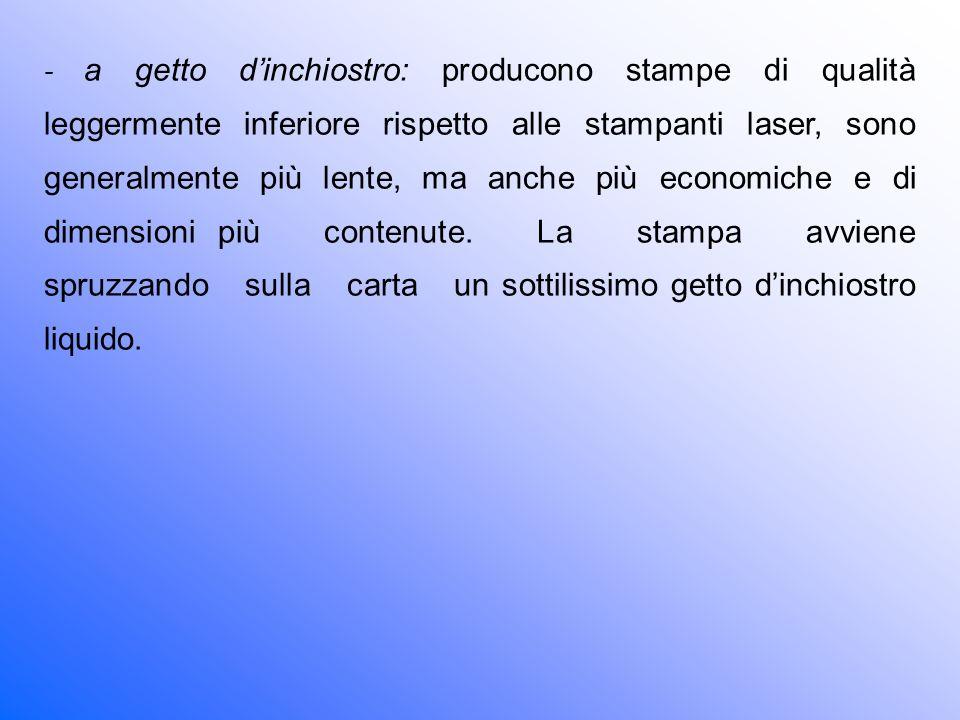 - a getto d'inchiostro: producono stampe di qualità leggermente inferiore rispetto alle stampanti laser, sono generalmente più lente, ma anche più economiche e di dimensioni più contenute.