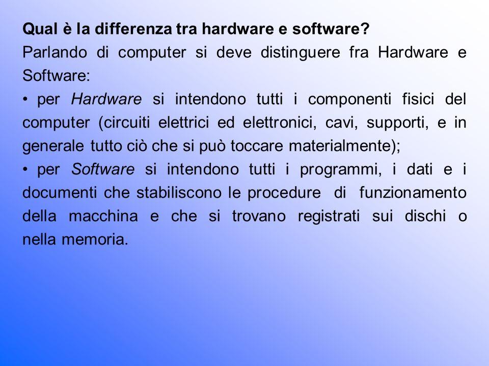 Qual è la differenza tra hardware e software