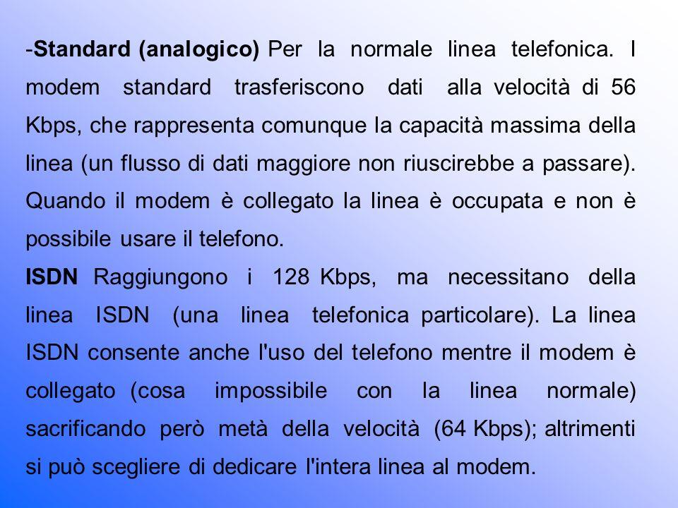 Standard (analogico) Per la normale linea telefonica