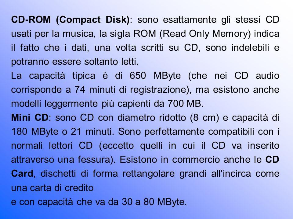 CD-ROM (Compact Disk): sono esattamente gli stessi CD usati per la musica, la sigla ROM (Read Only Memory) indica il fatto che i dati, una volta scritti su CD, sono indelebili e potranno essere soltanto letti.