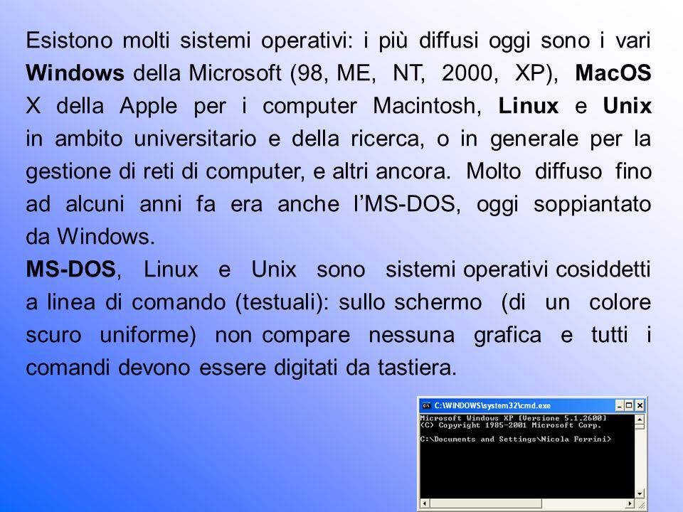 Esistono molti sistemi operativi: i più diffusi oggi sono i vari Windows della Microsoft (98, ME, NT, 2000, XP), MacOS X della Apple per i computer Macintosh, Linux e Unix in ambito universitario e della ricerca, o in generale per la gestione di reti di computer, e altri ancora. Molto diffuso fino ad alcuni anni fa era anche l'MS-DOS, oggi soppiantato da Windows.
