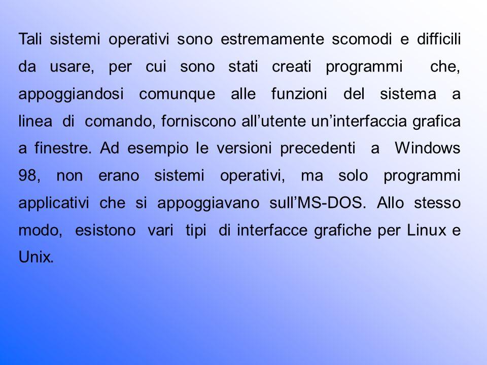 Tali sistemi operativi sono estremamente scomodi e difficili da usare, per cui sono stati creati programmi che, appoggiandosi comunque alle funzioni del sistema a linea di comando, forniscono all'utente un'interfaccia grafica a finestre.