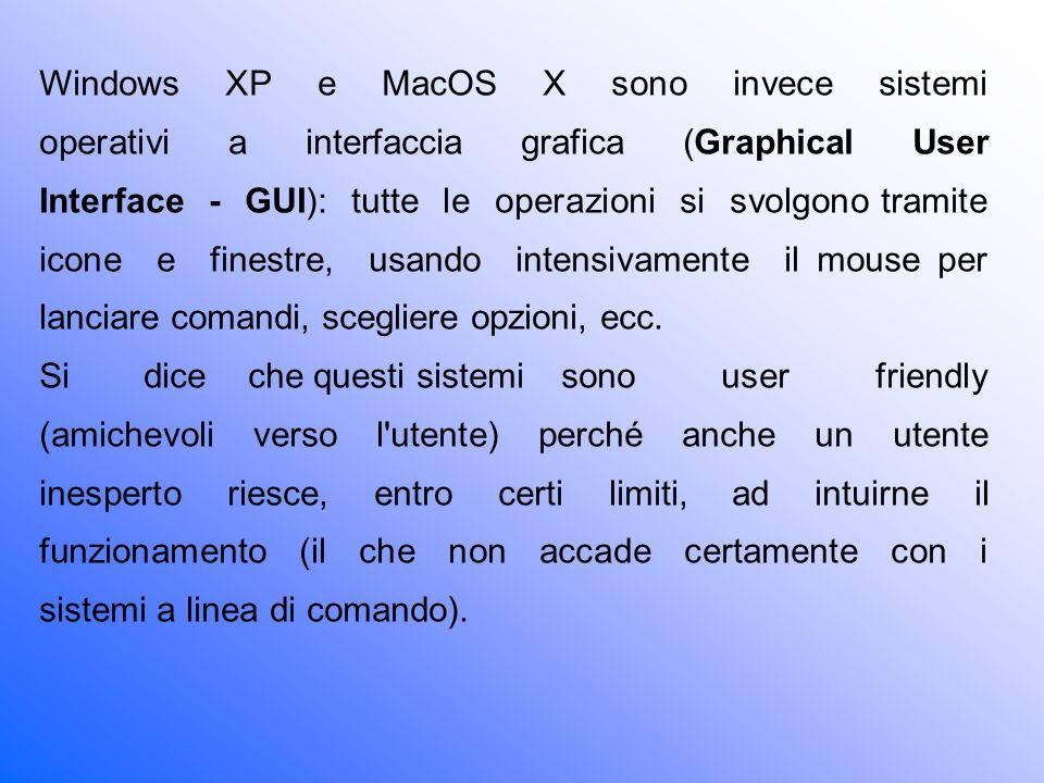 Windows XP e MacOS X sono invece sistemi operativi a interfaccia grafica (Graphical User Interface - GUI): tutte le operazioni si svolgono tramite icone e finestre, usando intensivamente il mouse per lanciare comandi, scegliere opzioni, ecc.