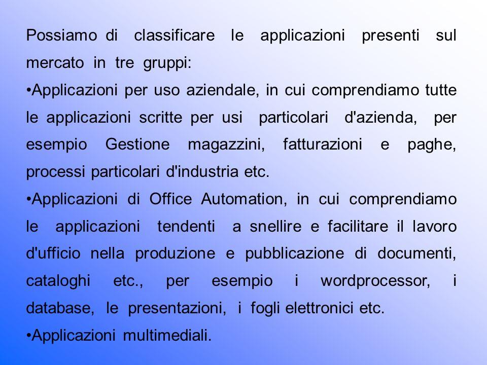 Possiamo di classificare le applicazioni presenti sul mercato in tre gruppi: