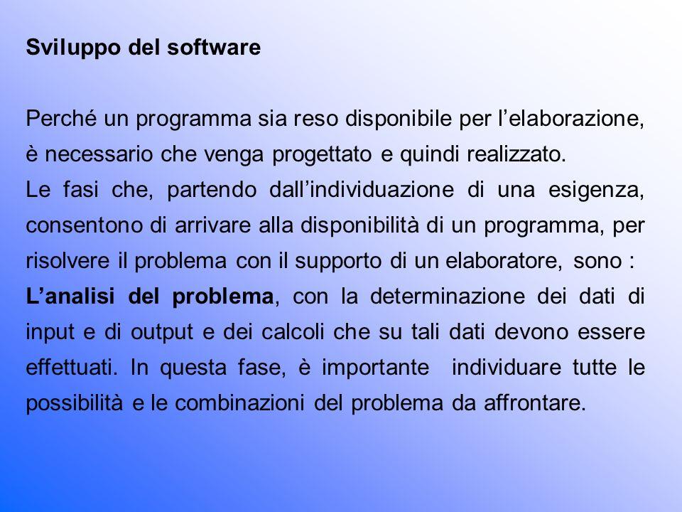 Sviluppo del software Perché un programma sia reso disponibile per l'elaborazione, è necessario che venga progettato e quindi realizzato.