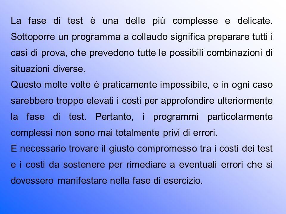 La fase di test è una delle più complesse e delicate