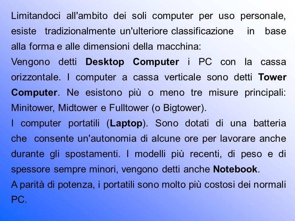 Limitandoci all ambito dei soli computer per uso personale, esiste tradizionalmente un ulteriore classificazione in base alla forma e alle dimensioni della macchina:
