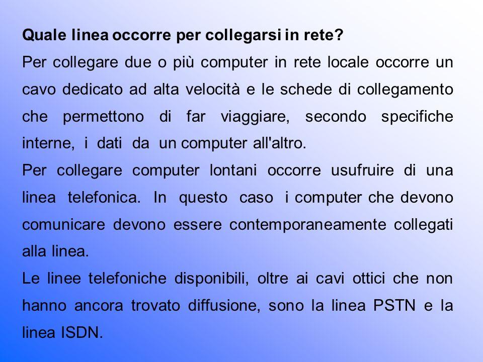 Quale linea occorre per collegarsi in rete