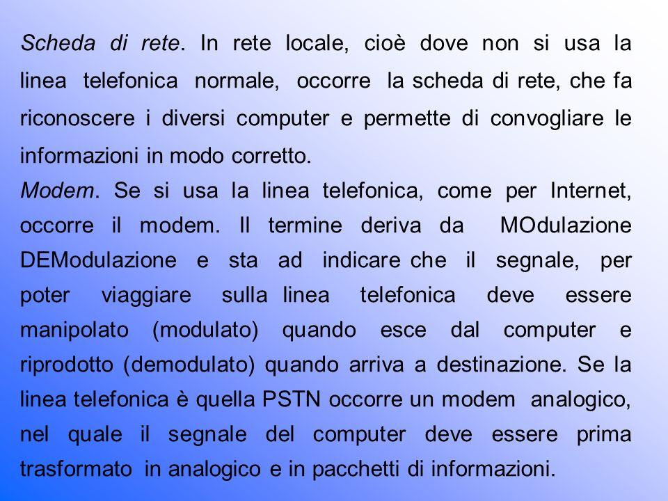 Scheda di rete. In rete locale, cioè dove non si usa la linea telefonica normale, occorre la scheda di rete, che fa riconoscere i diversi computer e permette di convogliare le informazioni in modo corretto.