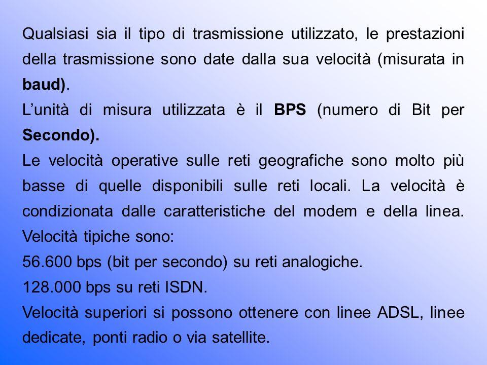 Qualsiasi sia il tipo di trasmissione utilizzato, le prestazioni della trasmissione sono date dalla sua velocità (misurata in baud).