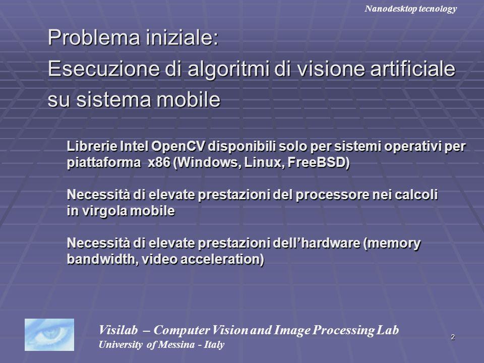 Esecuzione di algoritmi di visione artificiale su sistema mobile