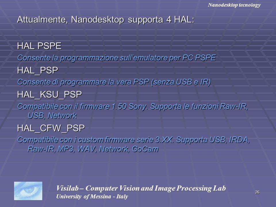Attualmente, Nanodesktop supporta 4 HAL: HAL PSPE HAL_PSP HAL_KSU_PSP