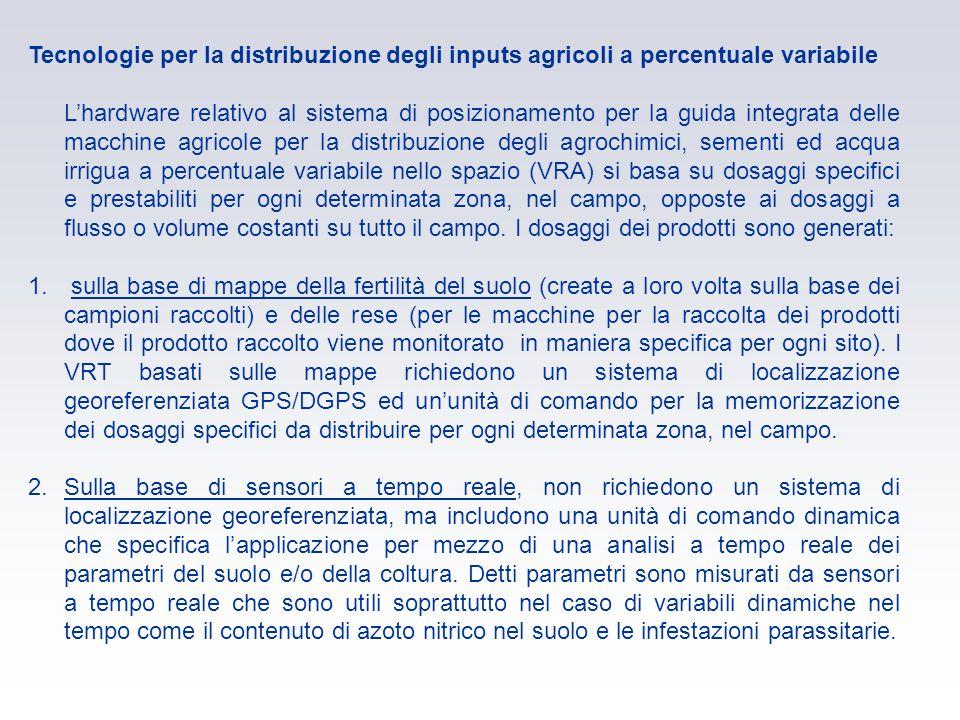 Tecnologie per la distribuzione degli inputs agricoli a percentuale variabile