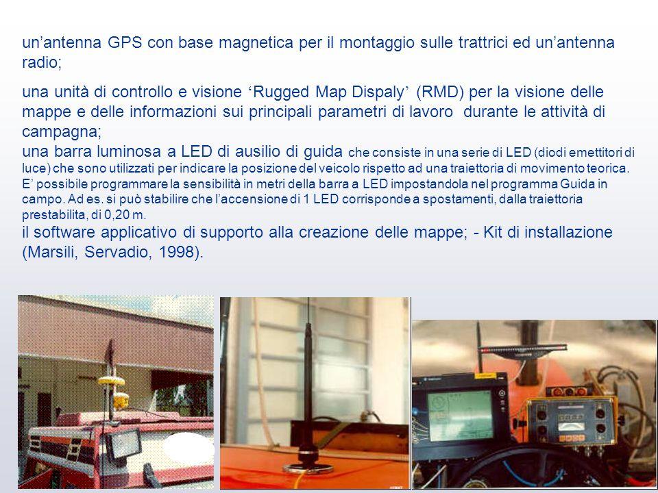 un'antenna GPS con base magnetica per il montaggio sulle trattrici ed un'antenna radio;
