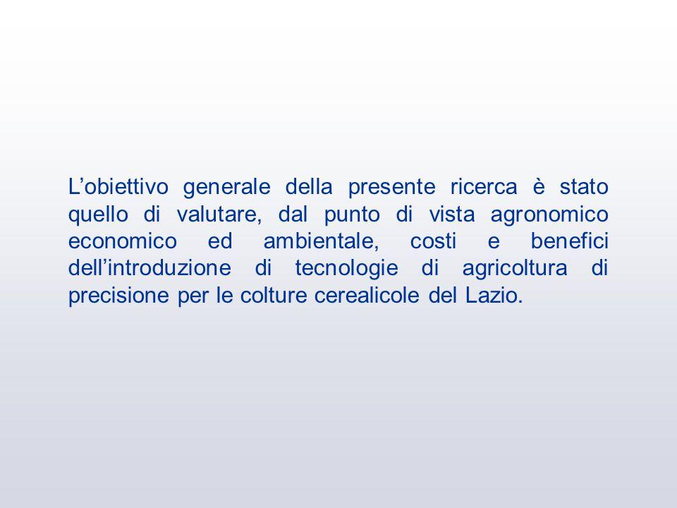 L'obiettivo generale della presente ricerca è stato quello di valutare, dal punto di vista agronomico economico ed ambientale, costi e benefici dell'introduzione di tecnologie di agricoltura di precisione per le colture cerealicole del Lazio.