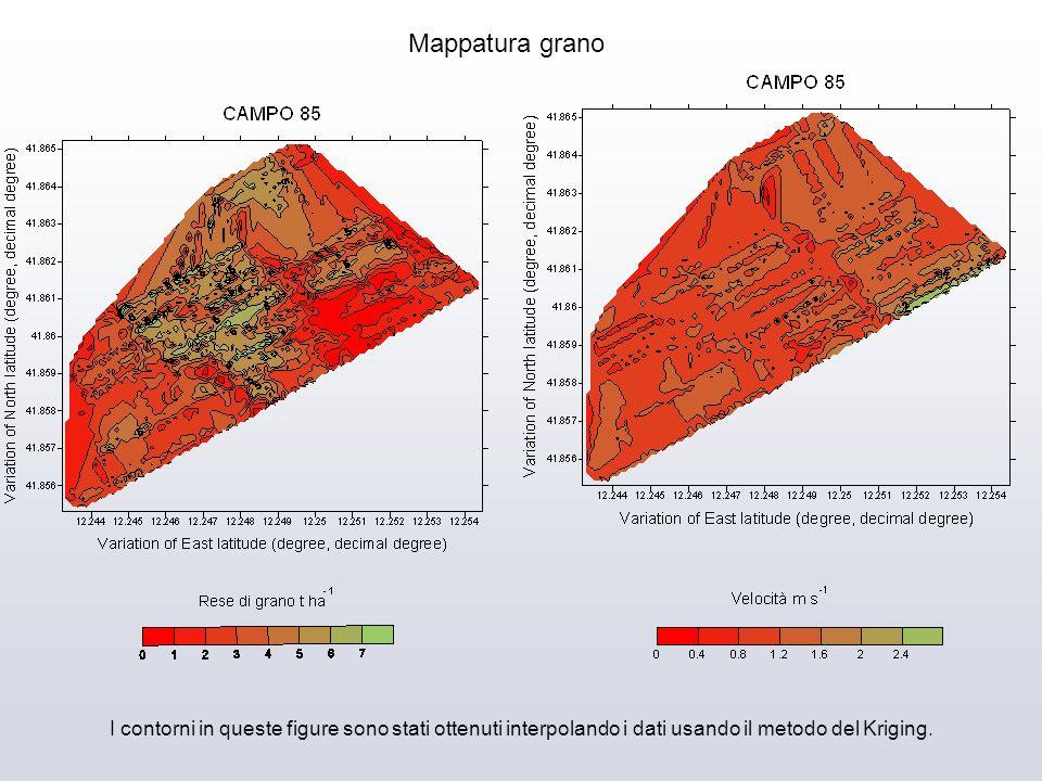 Mappatura grano I contorni in queste figure sono stati ottenuti interpolando i dati usando il metodo del Kriging.