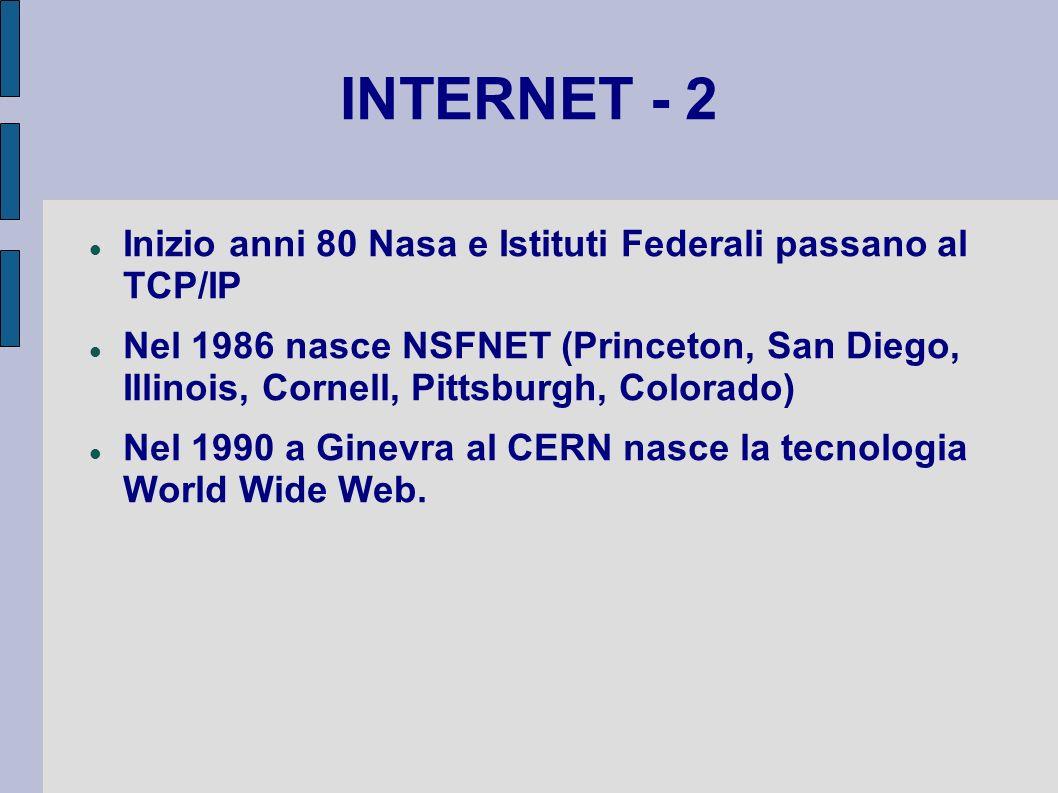 INTERNET - 2 Inizio anni 80 Nasa e Istituti Federali passano al TCP/IP