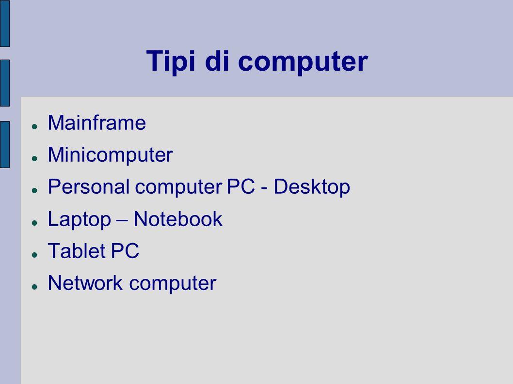 Tipi di computer Mainframe Minicomputer Personal computer PC - Desktop