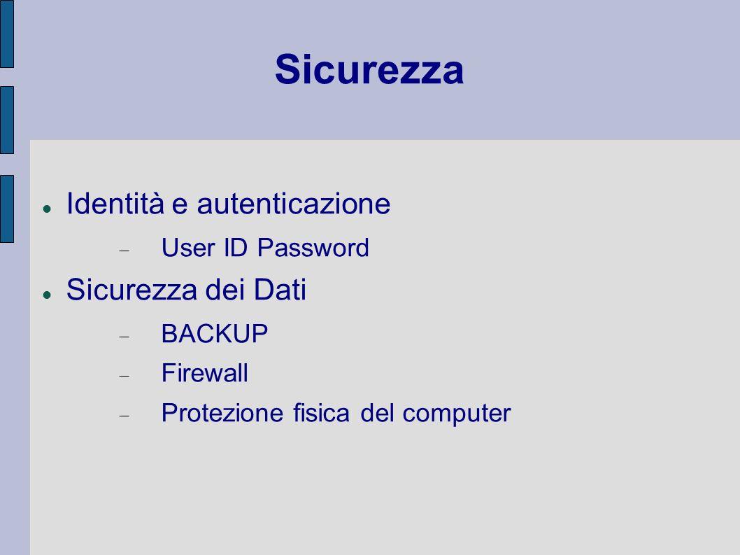 Sicurezza Identità e autenticazione Sicurezza dei Dati