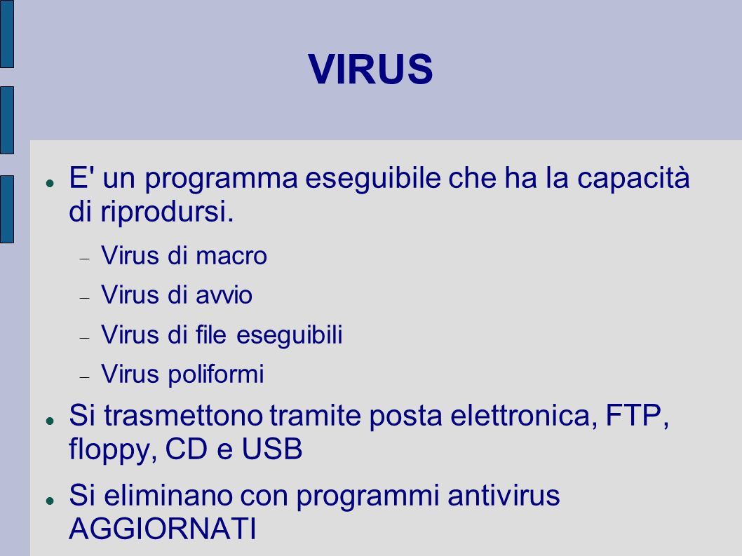 VIRUS E un programma eseguibile che ha la capacità di riprodursi.