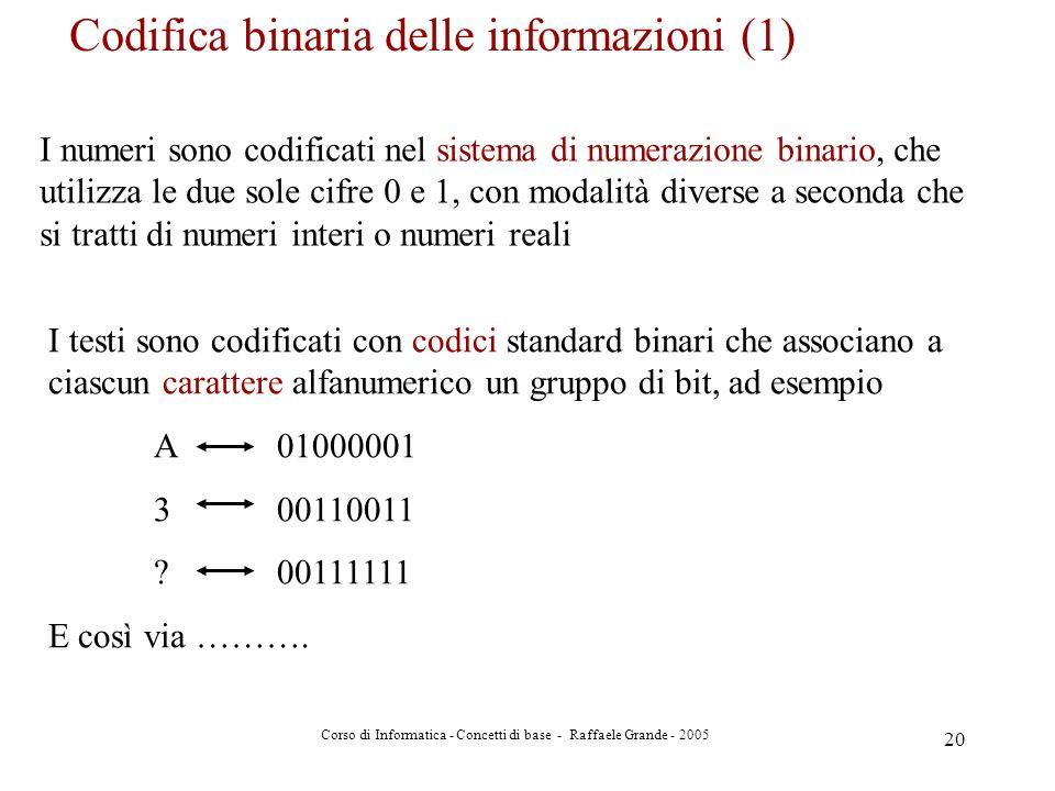 Codifica binaria delle informazioni (1)