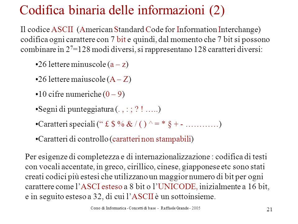 Codifica binaria delle informazioni (2)