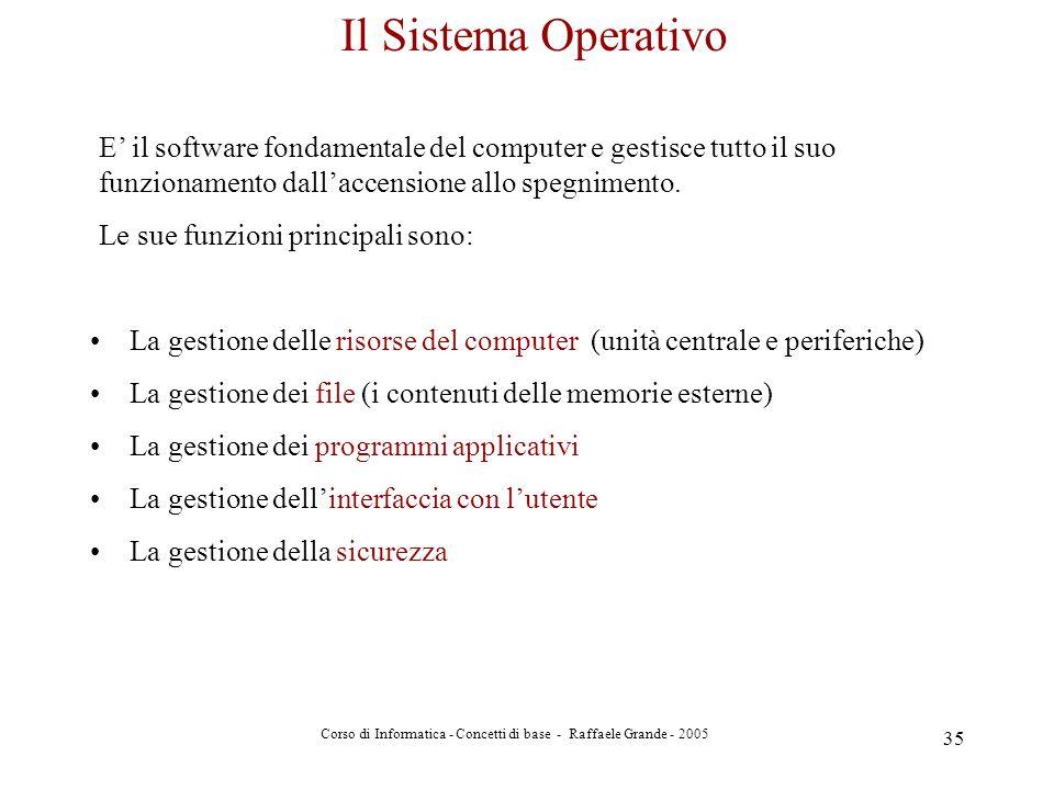 Corso di Informatica - Concetti di base - Raffaele Grande - 2005