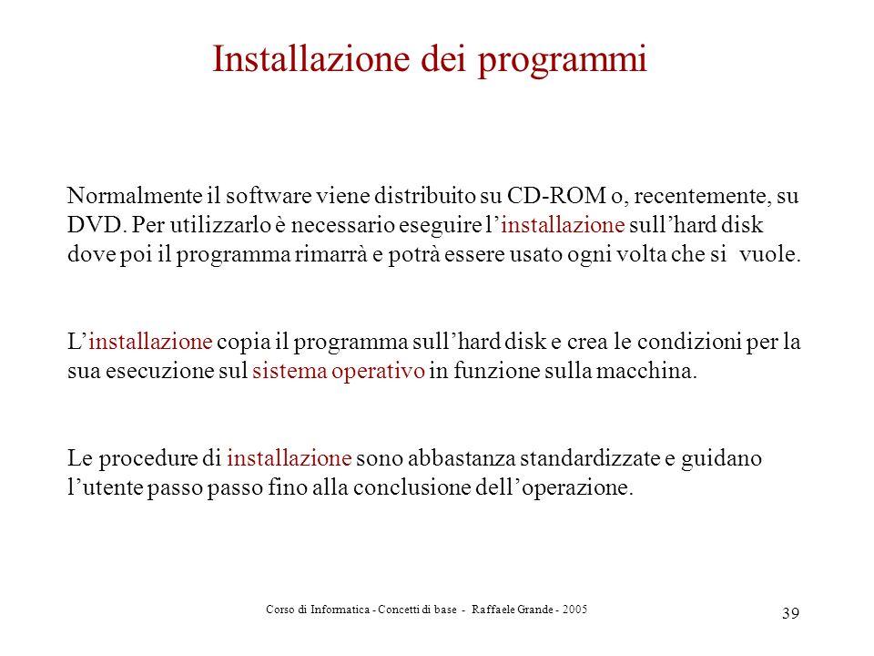 Installazione dei programmi