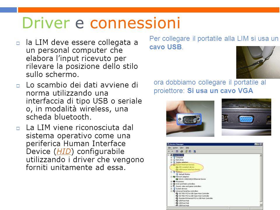 Driver e connessioni Per collegare il portatile alla LIM si usa un cavo USB.