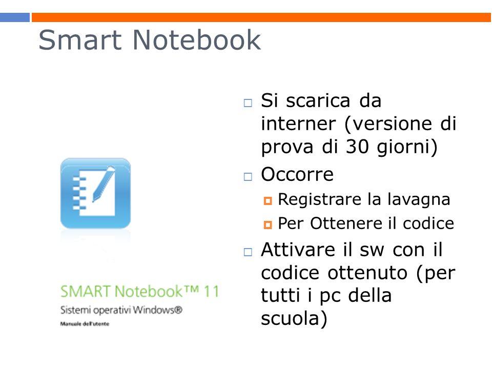 Smart Notebook Si scarica da interner (versione di prova di 30 giorni)