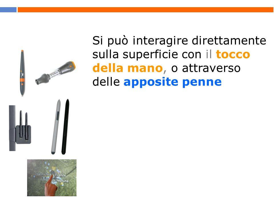 Si può interagire direttamente sulla superficie con il tocco della mano, o attraverso delle apposite penne