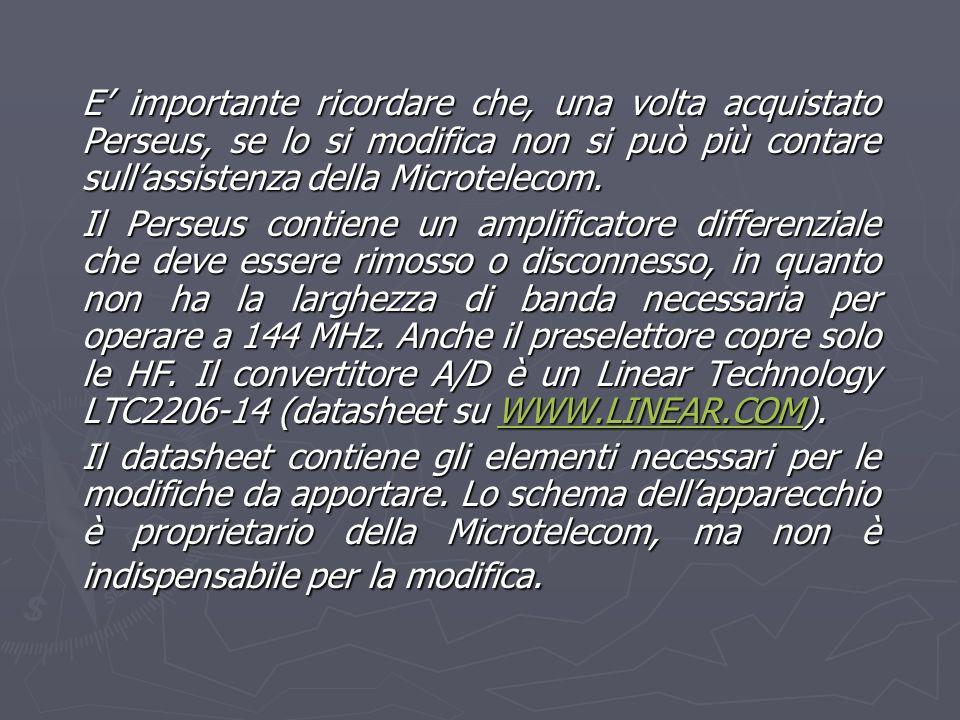 E' importante ricordare che, una volta acquistato Perseus, se lo si modifica non si può più contare sull'assistenza della Microtelecom.