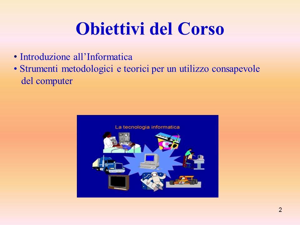 Obiettivi del Corso • Introduzione all'Informatica