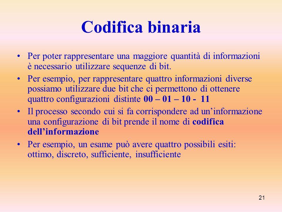 Codifica binaria Per poter rappresentare una maggiore quantità di informazioni è necessario utilizzare sequenze di bit.