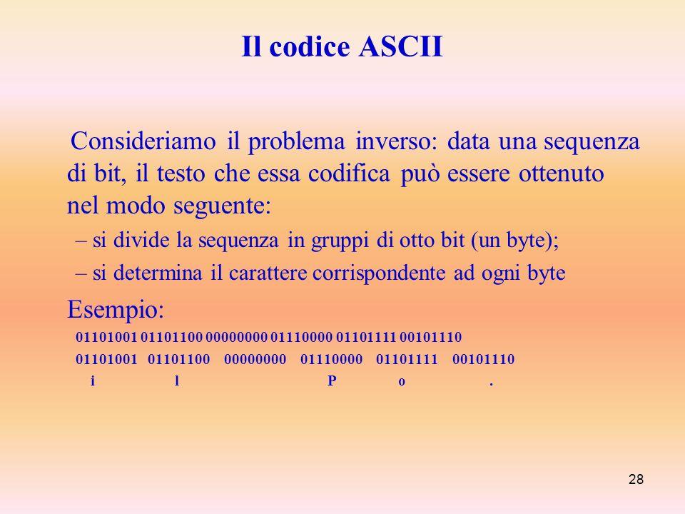Il codice ASCII Consideriamo il problema inverso: data una sequenza di bit, il testo che essa codifica può essere ottenuto nel modo seguente: