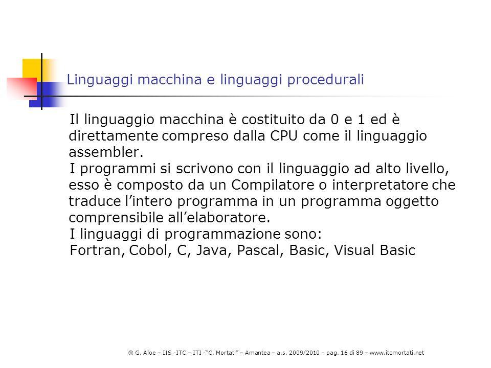 Linguaggi macchina e linguaggi procedurali