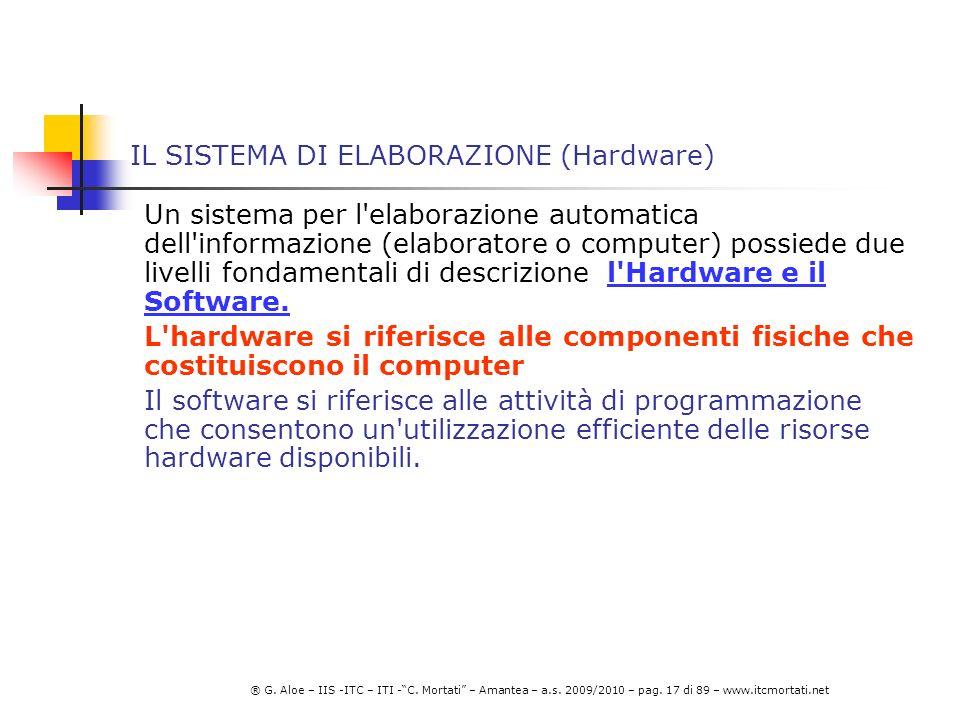 IL SISTEMA DI ELABORAZIONE (Hardware)